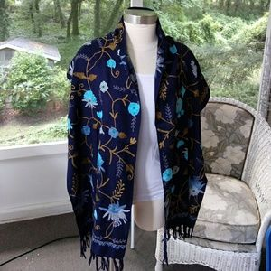 Pretty Blue embroidered w/flowers scarf/ wrap.